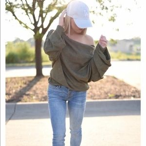 Free People Skyline Thermal Off Shoulder Sweater